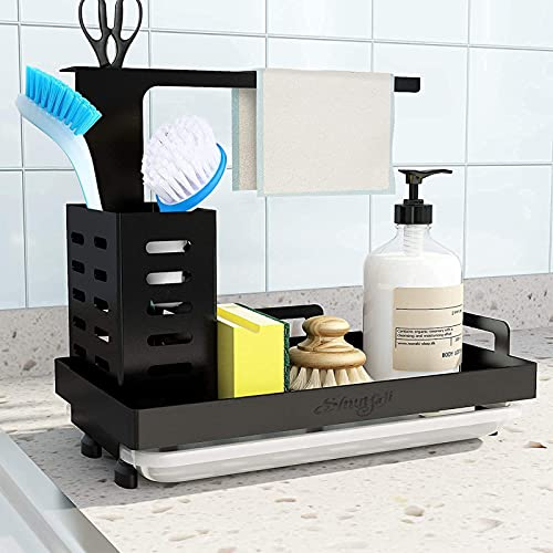 Shunfaji Spülbecken Caddy Organizer Utensilien Korb für Küche & Badezimmer mit Abflusspfanne, Klebstoff und Arbeitsplatte, Dual-Use Schwamm Bürste...