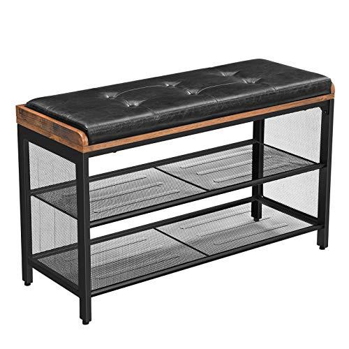 VASAGLE Schuhbank, gepolsterte Sitzbank mit Gitterablage, Schuhregal, 80 x 30 x 48 cm, Flur, Schlafzimmer, Metall, platzsparend, Industrie-Design, Kunstleder,...