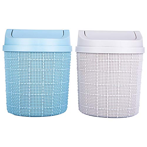 Aokyom 2Stk Mini Trash Can, Abfalleimer Schwingdeckeleimer Tischabfalleimer Minimülleimer Tisch Mini Trash Bin Papierkorb Abfallbehälter Kreativer...
