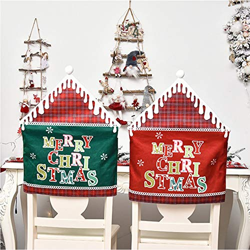 Weihnachten Stuhlhussen-Weihnachtsdekor Küchenstuhlbezüge, Esstischdekoration für Weihnachtsfeier & Feiern, Weihnachten Deko,48 cm * 61 cm (rot & grün),...