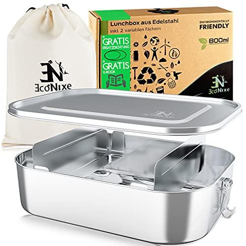 Econixe® Edelstahl Brotdose [800ml] für Kinder inkl. 2 Fächern & gratis Ersatzdichtung - Unsere Lunchbox Erwachsene mit Trennwand ist auslaufsicher -...