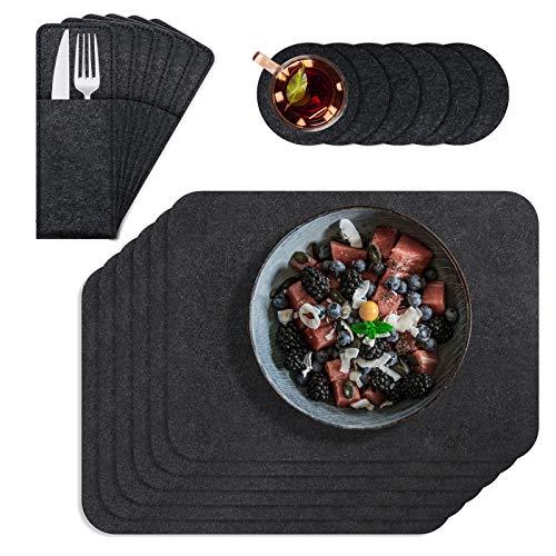 FENRIR Tischset, Filz Platzset 6er Set mit Glasuntersetzer und Bestecktaschen, Waschbare Hitzebeständig Anti-Rutsch Tragbares Geschirr für Abendessen, Party