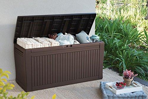 Koll Living Auflagenbox/Kissenbox 270 Liter l 100% Wasserdicht l mit Belüftung dadurch kein übler Geruch/Schimmel l Moderne Holzoptik l Deckel belastbar bis...
