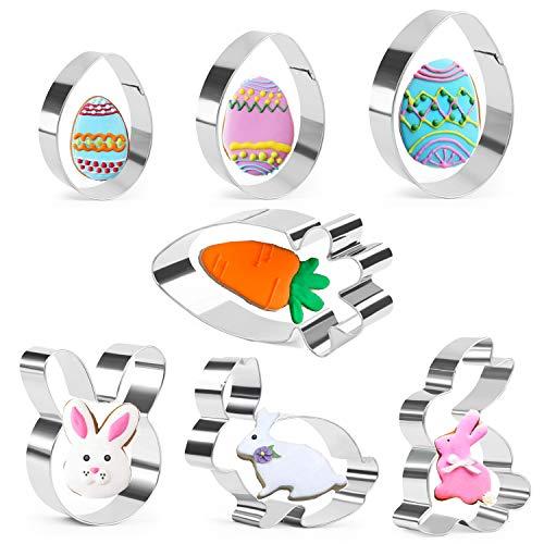 Ostern Ausstechform - 7 Stück Ausstecher Osterplätzchen - Eier, Karotten, Hasengesicht, Hase - Rostfreier Stahl