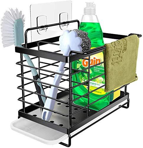 Orimade Spülbecken Organizer Utensilien Korb für küchen & Badezimmer mit Abflusspfanne, Klebstoff und Arbeitsplatte, Dual-Use Schwamm Bürste Seifenschale...
