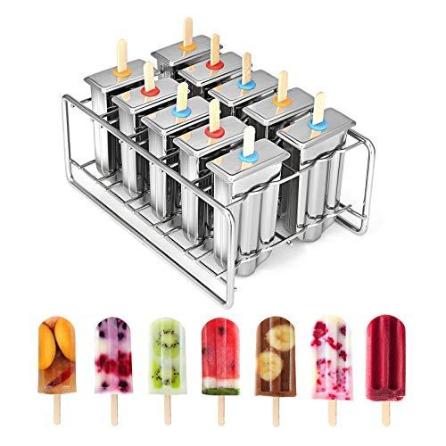 KKTECT Eis am Stiel Formen aus rostfreiem Stahl Set mit 10 hausgemachten Eis am Stiel Formen Set Hausgemachte Eisform mit 100 Sticks + 20 Pop Bags + Clean Brush