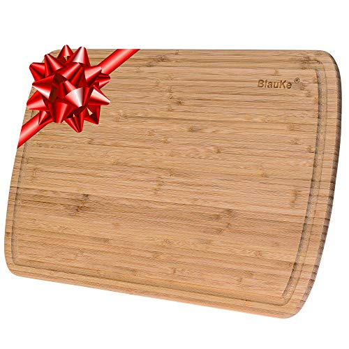 Bambus Schneidebrett mit Saftrille (45x31cm) – Extra Großes Küchenbrett Servierplatte für Fleisch Käse Gemüse Appetithäppchen – Holzbrett Küche Groß...