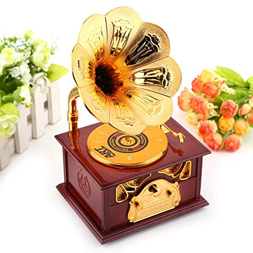 Retro Miniatur Phonograph Form Spieluhr Handwerk Klassische Gold Trompete Horn Kreative Handwerk Home Office Dekoration Ornamente-Geburtstag Weihnachten oder...