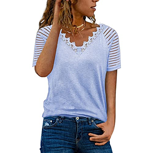 FrüHling Und Sommer Damen Casual Pullover Lose V-Ausschnitt Einfarbig Spitze Kurzarm T-Shirt Top Damen