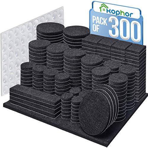 Filzgleiter Selbstklebend 300 Stück - Schwarz Filz für Stühle Möbelgleiter Filzgleiter Groß, Premium Filzunterlagen für Möbel Filz Pads 5 mm Starke...