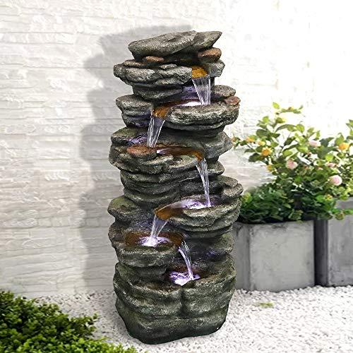 SunJet Wasserbrunnen mit 6 Ebenen – 101 cm hoher kaskadierender Wasserfall mit LED-Lichtern, beruhigende Ruhe für Haus, Garten, Hof-Dekoration (101cm,...