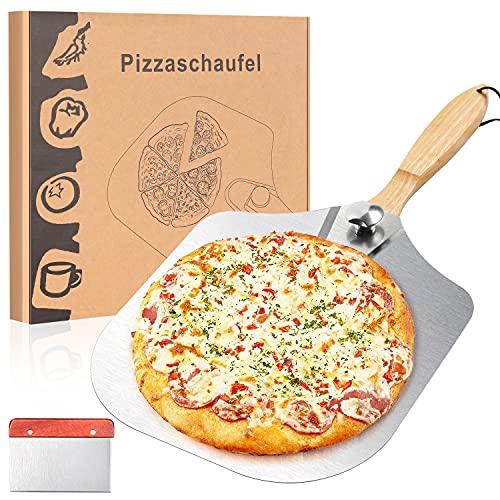 QIMYGIFT Pizzaschieber Aluminium für den Grill oder Ofen Pizzaschaufel Pizza Schaufel für Backofen Pizzaofen Gas mit praktischen Einklapp-Griff
