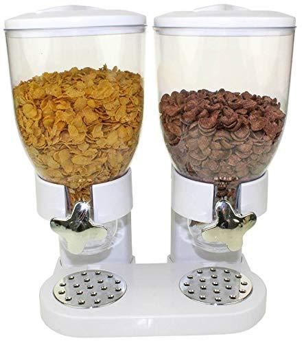 United Entertainment - Müslispender / Cerealienspender / Cornflakesspender / Doppel-Spender für Müsli, Cornflakes und Cerealien - Weiß