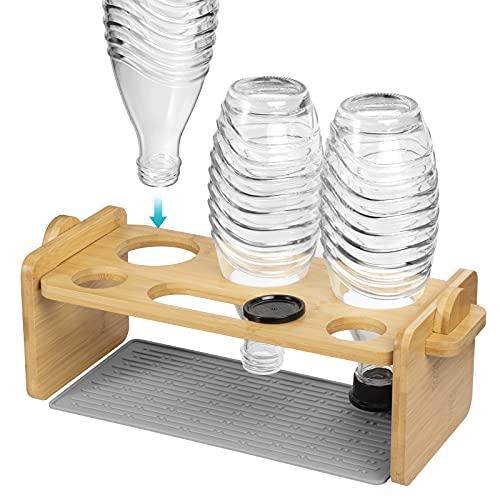 Flaschenhalter für Soda Stream aus Bambus, Abtropfgestell mit Silikon Abtropfmatte, Flaschenabtropfgestell für Eine Vielzahl von Flaschen, für z.B Soda...