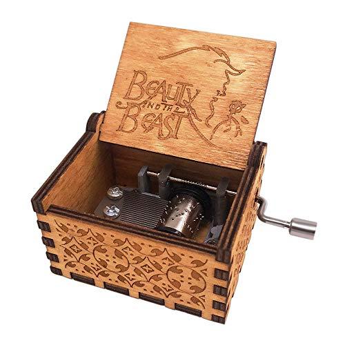 shirylzee Hölzerne Spieluhr Reine Hand-Klassischen Holz Musik Box Die Schöne und das Biest Spieluhr Kreative Holz Handwerk Dekorative Geschenke für Kinder