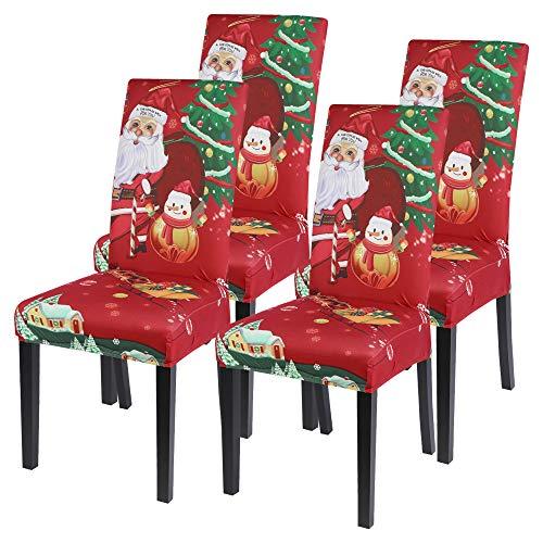 Vertvie Weihnachten Stuhlhussen 1er/2er/4er/6er Set Stretch Stuhlbezug Universal Moderne Xmas Festlich Husse Dekoration Protector Chair Cover Party Restaurant...
