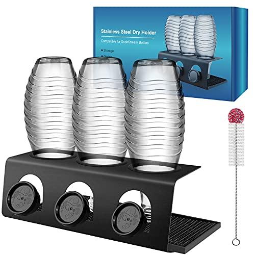 DIGIROOT Flaschenhalter für Sodastream - 3er Abtropfhalter aus Edelstahl mit Herausnehmbare Abtropfwanne und Flaschenbürste Abtropfgestell für Sodastream...