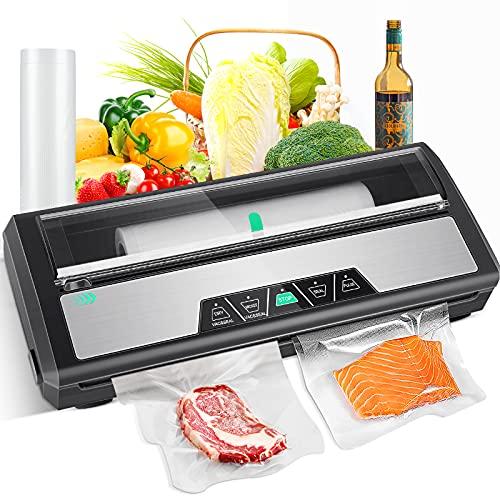 Vakuumierer, Vakuumiergerät mit Folienrollenspeicher, 0.8 Bar Folienschweißgerät, Einschweißgerät für trockene und feuchte Lebensmittel, inklusive...