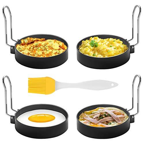 SZRWD Egg Ring,Spiegeleiform,4 Stück Edelstahl Omelettform Kochen,Antihaft-Pfanne, leicht zu Reinigen, zum Kochen mit Verschiedenen Zutaten Geeignet,...