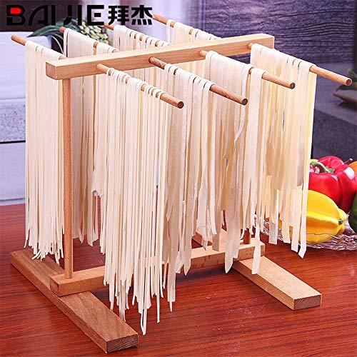 Wankd Nudeltrockner holz, Faltbare Pasta Wäscheständer,Stabile Basis zum problemlosen trocknen selbstgemachter Pasta