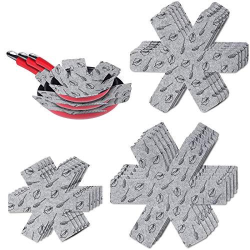 flintronic Pfannenschutz, 15PCS Pfannenschoner Topfschutz, Hitzebeständigerung, Anti-Rutsch Stapelschutz für Pfannen, Töpfe und Schüsseln - Grau