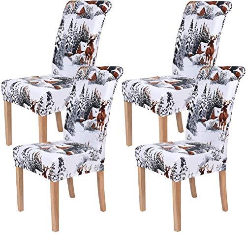 Homaxy Universal Stretch Stuhlhussen 2er 4er 6er Set Stuhlbezug für Stuhl Esszimmer (4er Set, Weihnachten B)