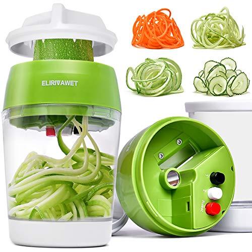 ELIRIVAWET Neueres Modell 5 in1 Spiralschneider Hand für Gemüsespaghetti, Gemüse Spiralschneider mit Behälter, Gemüsehobel für Karotte, Gurke,...