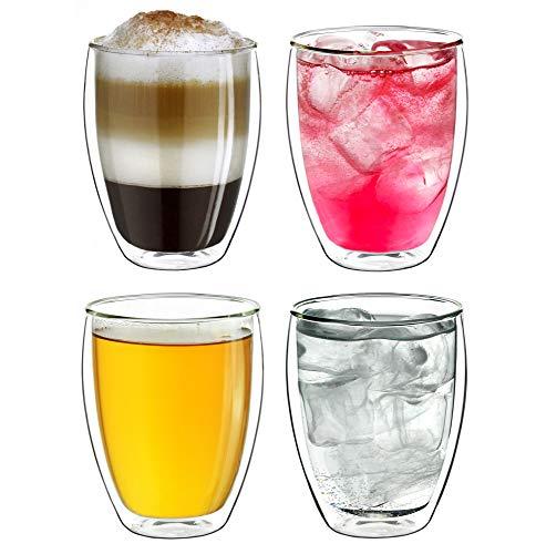 """Creano Thermogläser doppelwandig 250ml """"DG-Hoch"""", 4er Set, große doppelwandige Gläser aus Borosilikatglas, Kaffeegläser, Teegläser, Latte Macchiato..."""