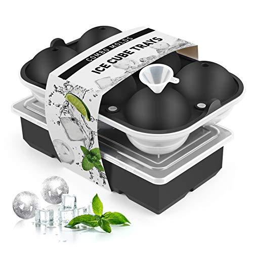 Eiswürfelform Silikon, 2 XXL Eiswürfelformen 6-Fach Eiskugelform und 8-Fach Eiswürfelform mit Deckel und Trichter, BPA Frei Eiswürfelform Große perfekt...