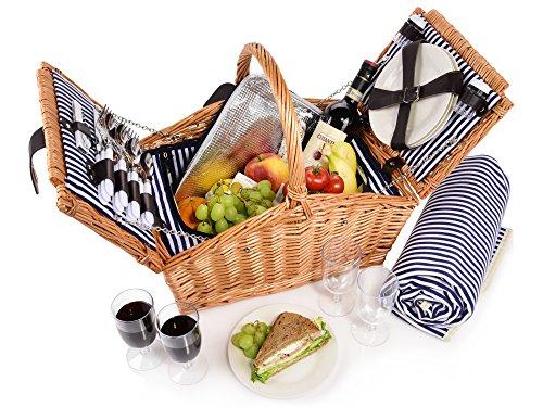 Sänger Picknickkorb Sylt 24 teiliges Picknick-Tasche Set für 4 Personen aus Weidengeflecht, Weidenkorb, Decke, Geschirr, Besteck, Salz-, Pfefferstreuer,...