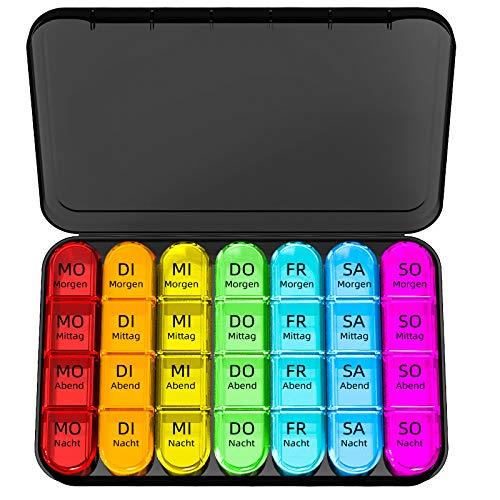 Doruimi Tablettenbox 7 Tage Morgens Mittags Abends, Klein Pillendose Große Fächer, Medikamentenbox 7 Tage 4 fächer mit Einfachem Offenem Design FüR Kinder...
