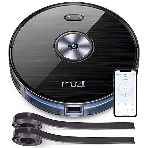 Muzili Saugroboter Wlan 2200PA Staubsauger Roboter mit Wischfunktion,App Fernbedienung & Kompatibel mit Alexa, Geräuscharm 350ML Wassertank mit 6...