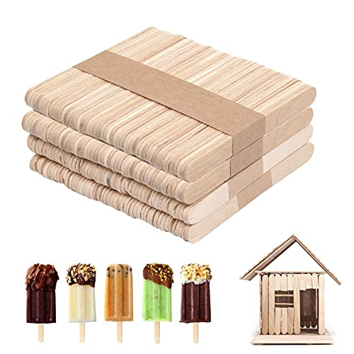 200 Stück Holzstäbchen, 95 x 10 x 2 mm Eisstiele aus Holz, Holzstäbchen Holzspatel, Holzspatel Stiele, Holzstäbe, Holzeisstiele zum Basteln, Popsicle Sticks...