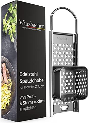 Winzbacher® Edelstahl Spätzlehobel mit Teigschlitten [Topf Ø von 16-30cm] Spülmaschinenfest | Rostfrei | Spätzlereibe, Spätzlesieb, Spätzlepresse, Reibe,...