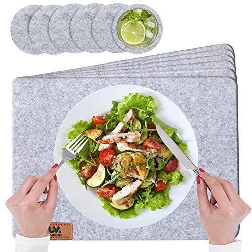 UMAIRIF® Eckige Platzset, Tischset Abwaschbar Filz 44x32cm | 12er Set Platzdeckchen Grau | 6 Platzteller, filzuntersetzer | 6 Glasuntersetzer,...