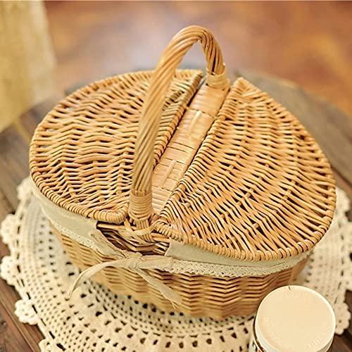 Picknickkorb aus Weide 35 x 24 x29 cm Weidenkorb Geflochten Korb Handgewebt Einkaufskorb mit Deckel und Griff Willow Storage Hamper für Camping und Party im...