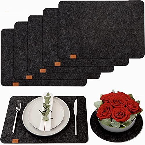 DINING concept® Premium Tischset aus Filz - rutschfest & abwaschbar - 6 Platzsets aus Filz in anthrazit mit GRATIS Deko Untersetzer - Filz Tischsets für...