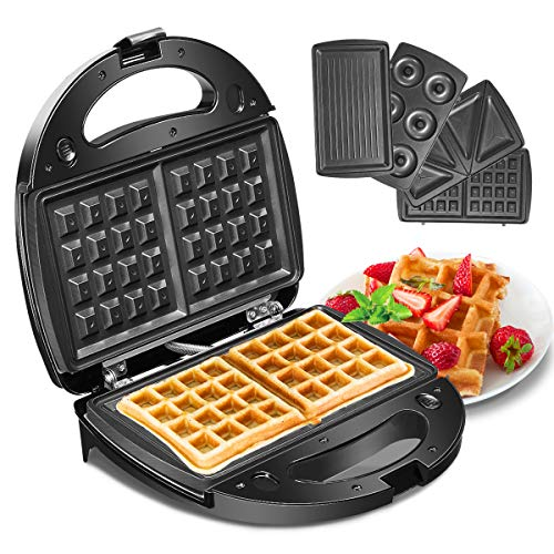 Waffeleisen, Godmorn 4IN1 Sandwichmaker, Waffelautomat, Waffel Maker, Sandwich-Toaster, Panini-Maschine, Donut-Herstellungsmaschine, Antihaft-Platte, 750W,...
