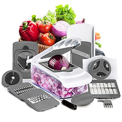 SveBake Gemüseschneider Manuell (11 TLG.), Mandoline Gurkenhobel, Verstellbar Spiralschneider, Kartoffelschneider, Reibe für Gemüse, Küchenhobel | Grau
