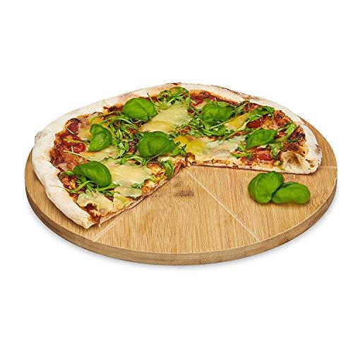 Relaxdays Pizzateller Bambus 33 cm Durchmesser, Schneidbrett aus Holz, schnittfestes Pizzabrett mit 6-facher Einteilung für gleichmäßig große Stücke,...