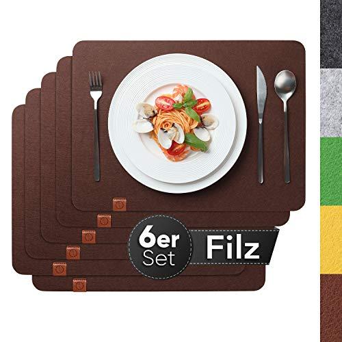 Sidorenko Edles Platzset aus Filz - 6er Set braun - Tischset Abwischbar 44x32 cm Filzuntersetzer - abwaschbare Tischuntersetzer Platzdeckchen - Untersetzer...