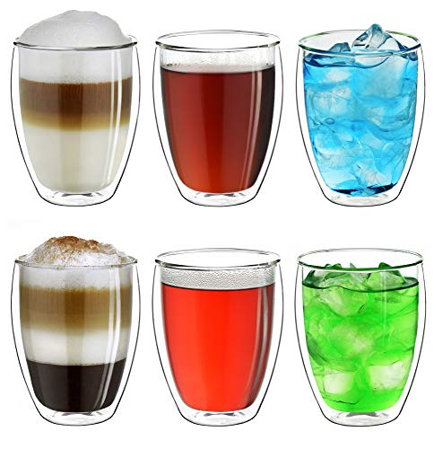 Creano doppelwandiges XXL Thermoglas 400ml, Extra großes hitzebeständiges Kaffeeglas/Teeglas/Latte Macchiato aus Borosilikatglas, 6er Set