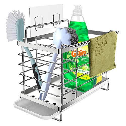 Orimade Spülbecken Caddy Organizer Utensilien Korb für Küche & Badezimmer mit Abflusspfanne, Klebstoff und Arbeitsplatte, Dual-Use Schwamm Bürste...