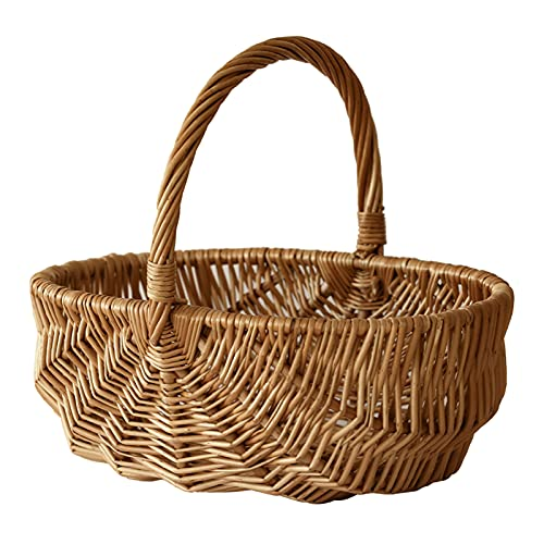 GIVROLDZ Korbgeflochtener Picknickkorb, Einkaufskorb Handgewebter Obst- oder Gemüsekorb, tragbarer Einkaufskorb für Märkte, Picknicks, Garten,27 * 18 * 11cm