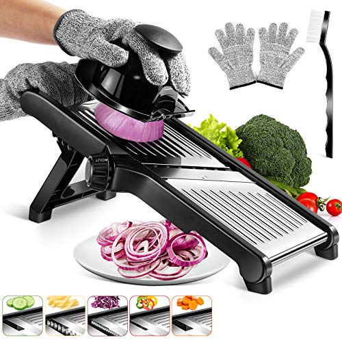 MASTERTOP Mandoline Gemüseschneider verstellbar, 3-in-1-Edelstahl-Gemüsehobel , zum Schneiden von Kartoffeln, Gurken und den meisten Obst und Gemüse, Extra...