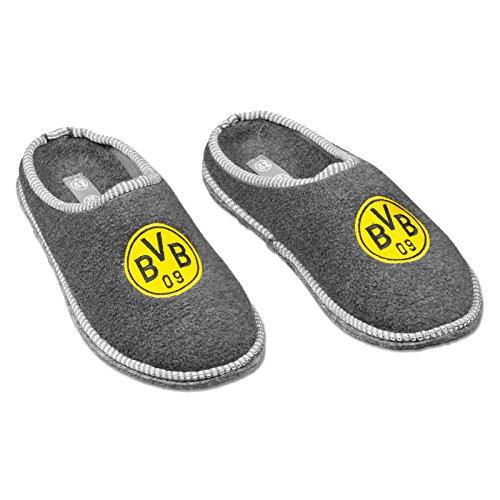 Borussia Dortmund Unisex Bvb-filzpantoffeln Hausschuh, Grau Silbergrau, 44 45 EU