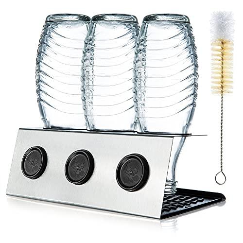 ZWOOS Flaschenhalter mit Abtropfmatte kompatibel mit SodaStream Crystal und Emil Flaschen - Abtropfhalter aus Edelstahl mit Deckelhalterung - Glatter Rand...