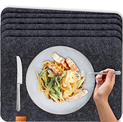 Miqio® - Design Tischset aus Filz | Marken Label aus echtem Leder | 6er Set Platzset (dunkel grau anthrazit) abwaschbar | Filzmatte Tisch Untersetzer...