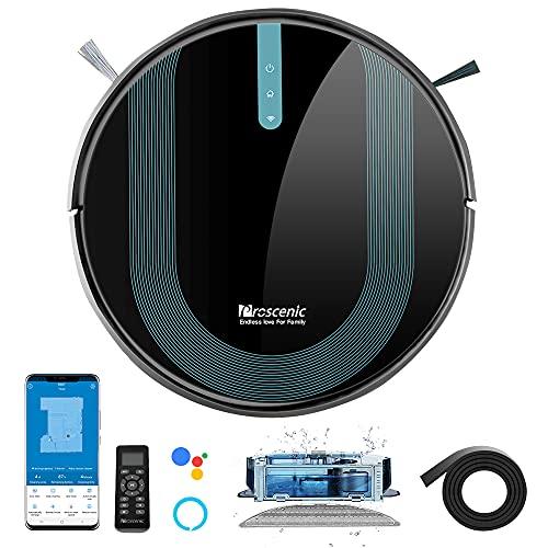 Proscenic 850T WLAN Saugroboter mit Wischfunktion, Staubsauger Roboter, Alexa & Google Home & Appsteuerung, 3000Pa Saugleistung auf Teppichen und Hartböden,...