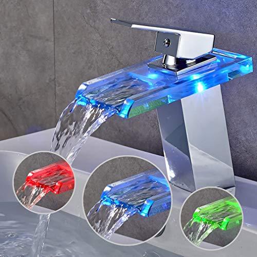 BONADE LED Wasserhahn bad Waschbecken mit RGB 3 Farbewechsel Beleuchtung Wasserfall Auslauf Waschtischarmatur Einhandmischer aus Glas Mischer Spüle Waschtisch...